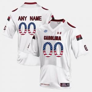 South Carolina Gamecocks Customized Jersey White For Men US Flag Fashion #00
