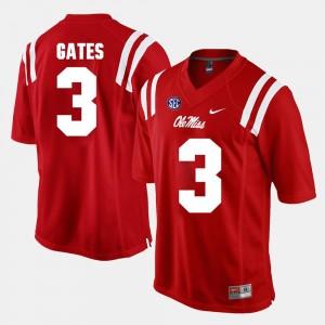 Ole Miss Rebels DeMarquis Gates Jersey #3 Alumni Football Game Red Men's