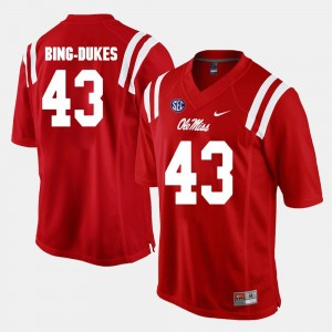Ole Miss Rebels Detric Bing-Dukes Jersey Men Alumni Football Game Red #43