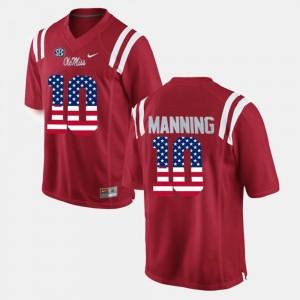 Ole Miss Rebels Eli Manning Jersey #10 For Men US Flag Fashion Red