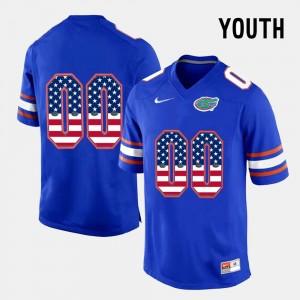 Florida Gators Custom Jersey US Flag Fashion #00 Youth(Kids) Blue