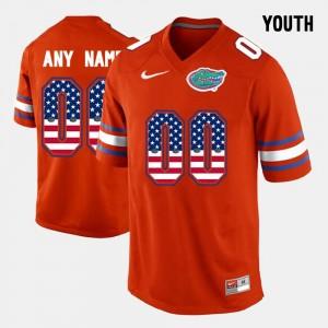 Florida Gators Customized Jerseys Orange US Flag Fashion #00 Youth(Kids)