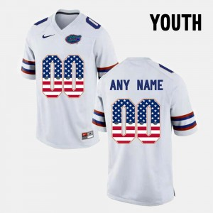 Florida Gators Custom Jerseys Youth(Kids) US Flag Fashion #00 White