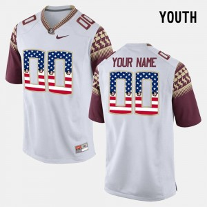 Florida State Seminoles Customized Jersey #00 For Kids US Flag Fashion White