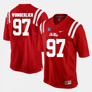 Ole Miss Rebels Gary Wunderlich Jersey Alumni Football Game #97 Mens Red