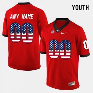 Georgia Bulldogs Customized Jersey US Flag Fashion #00 Red Youth