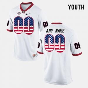 Georgia Bulldogs Customized Jerseys White US Flag Fashion Youth #00