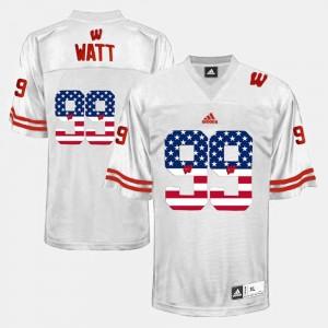 Wisconsin Badgers J.J. Watt Jersey Men's #99 White US Flag Fashion