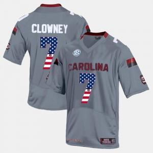 South Carolina Gamecocks Jadeveon Clowney Jersey #7 Gray US Flag Fashion Men's