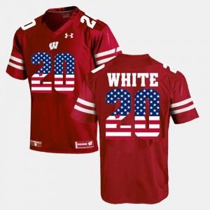 Wisconsin Badgers James White Jersey Maroon Men #20 US Flag Fashion