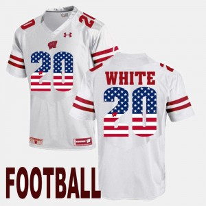 Wisconsin Badgers James White Jersey US Flag Fashion White #20 For Men's
