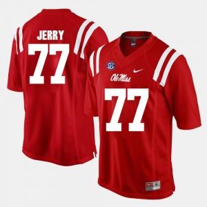 Ole Miss Rebels John Jerry Jersey Alumni Football Game #77 Red Mens