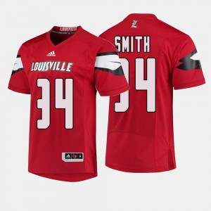 Louisville Cardinals Jeremy Smith Jersey College Football Red #34 Men