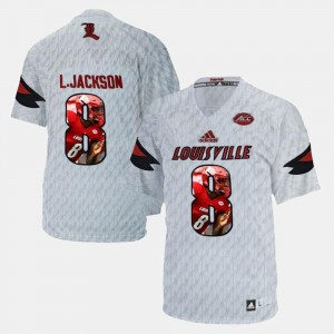 Louisville Cardinals Lamar Johnson Jersey White Men #8 Player Pictorial