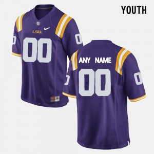 LSU Tigers Customized Jersey #00 Purple College Limited Football Youth(Kids)