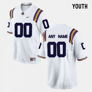 LSU Tigers Custom Jersey Youth White #00 College Limited Football