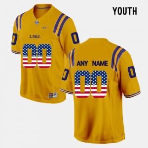 LSU Tigers Custom Jersey Youth(Kids) #00 Gold US Flag Fashion
