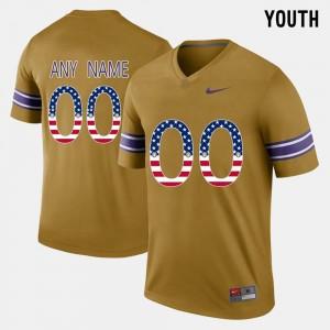 LSU Tigers Custom Jerseys US Flag Fashion For Kids #00 Gridiron Gold