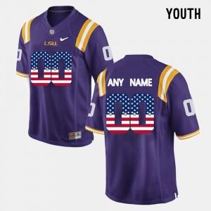 LSU Tigers Custom Jersey For Kids Purple US Flag Fashion #00