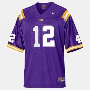 LSU Tigers Jarrett Lee Jersey Purple #12 Men's College Football