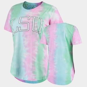 LSU Tigers T-Shirt For Women's Bay Tie Dye Rainbow