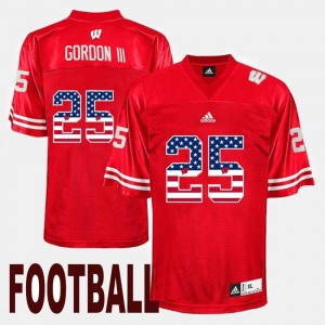 Wisconsin Badgers Melvin Gordon III Jersey #25 US Flag Fashion Mens Red