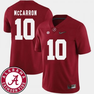 Alabama Crimson Tide AJ McCarron Jersey College Football 2018 SEC Patch For Men's #10 Crimson