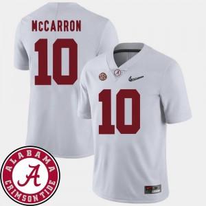 Alabama Crimson Tide AJ McCarron Jersey White 2018 SEC Patch #10 College Football Men's