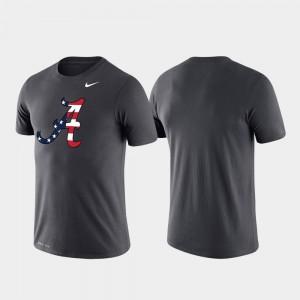 Alabama Crimson Tide T-Shirt Anthracite Performance For Men's Americana Legend