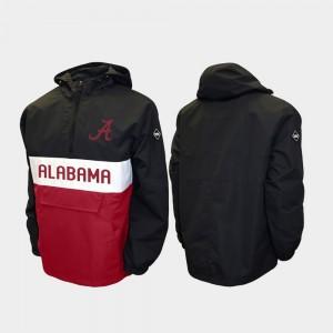 Alabama Crimson Tide Jacket Half-Zip Men Alpha Anorak Pullover Black