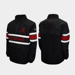 Alabama Crimson Tide Jacket Black For Men Alpha Windshell Pullover Quarter-Zip