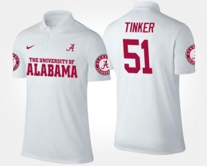 Alabama Crimson Tide Carson Tinker Polo #51 For Men White