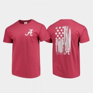Alabama Crimson Tide T-Shirt Crimson Comfort Colors Baseball Flag Men's