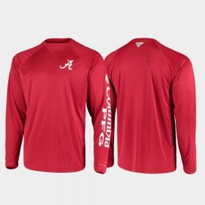 Alabama Crimson Tide T-Shirt For Men's Omni-Shade Crimson PFG Terminal Tackle Long Sleeve