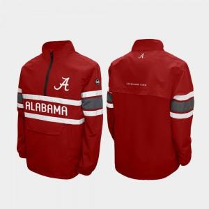 Alabama Crimson Tide Jacket Alpha Windshell Pullover Quarter-Zip For Men Crimson