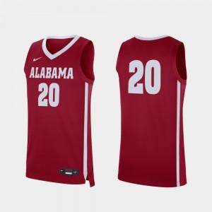 Alabama Crimson Tide Jersey College Basketball #20 Crimson For Men's Replica