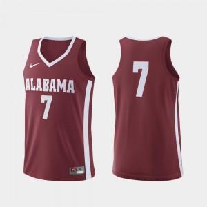 Alabama Crimson Tide Jersey Men Replica #7 College Basketball Crimson