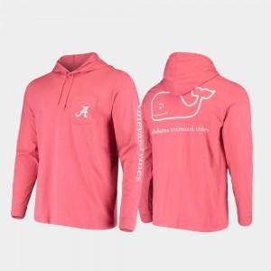 Alabama Crimson Tide T-Shirt Hooded Long Sleeve Whale Crimson For Men