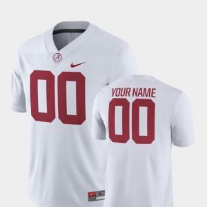Alabama Crimson Tide Customized Jerseys White College Football For Men's 2018 Game #00