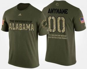 Alabama Crimson Tide Customized T-Shirts Men Short Sleeve With Message #00 Military Camo