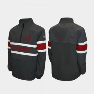 Alabama Crimson Tide Jacket Alpha Windshell Pullover Men Quarter-Zip Gray