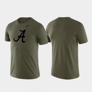 Alabama Crimson Tide T-Shirt For Men's Green Tonal Logo Legend Performance