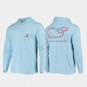 Alabama Crimson Tide T-Shirt Hooded Long Sleeve Whale Light Blue Men