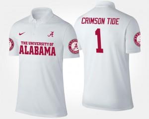 Alabama Crimson Tide Polo #1 White No.1 Short Sleeve Mens