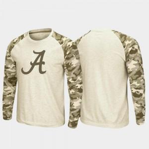 Alabama Crimson Tide T-Shirt Oatmeal Raglan Long Sleeve Desert Camo OHT Military Appreciation Men's