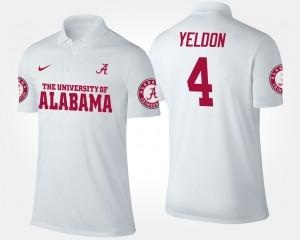 Alabama Crimson Tide T.J. Yeldon Polo #4 For Men's White