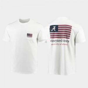 Alabama Crimson Tide T-Shirt Vineyard Vines White Men Americana Flag