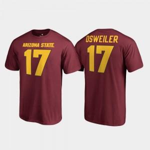 Arizona State Sun Devils Brock Osweiler T-Shirt #17 For Men's College Legends Maroon Name & Number