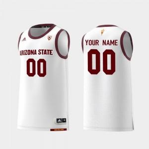 Arizona State Sun Devils Customized Jerseys For Men's White Replica College Basketball #00