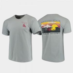 Arizona State Sun Devils T-Shirt Comfort Colors Campus Scenery Men's Gray